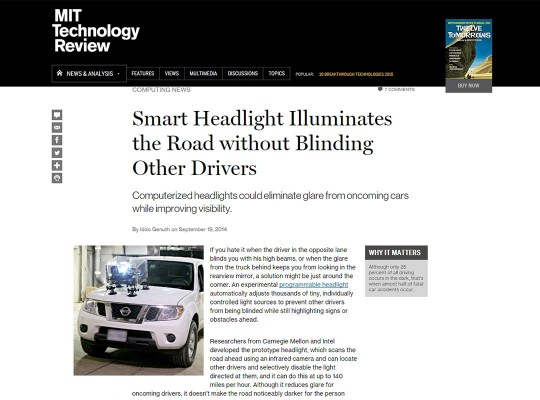 Smart Headlight Illuminates the Road without Blinding Other Drivers